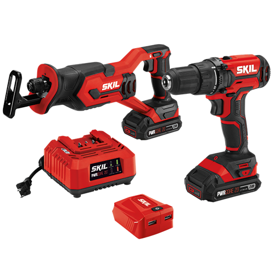 20V 3-Tool Kit: Drill Driver, Reciprocating Saw, PWR ASSIST™ USB Adapter, Two PWR CORE 20™ 2.0Ah Batteries