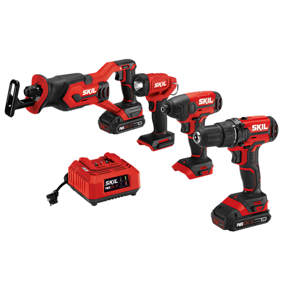 20V 4-Tool Combo Kit; Drill Driver, Impact Driver, Reciprocating Saw, Spot Light