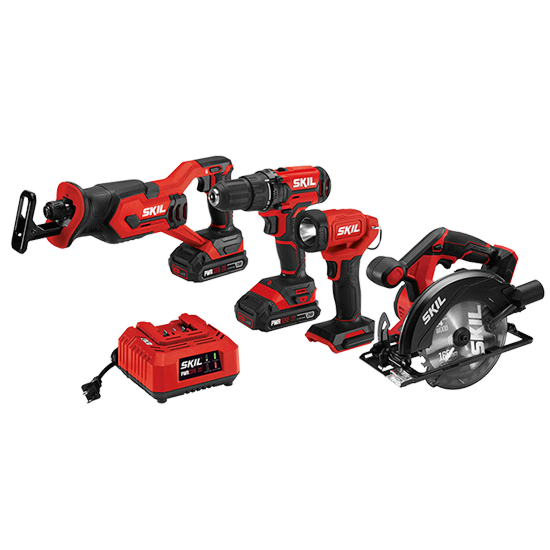 20V 4-Tool Kit: Drill Driver, Reciprocating Saw, Circular Saw, Spot Light, Two PWR CORE 20™ 2.0Ah Batteries