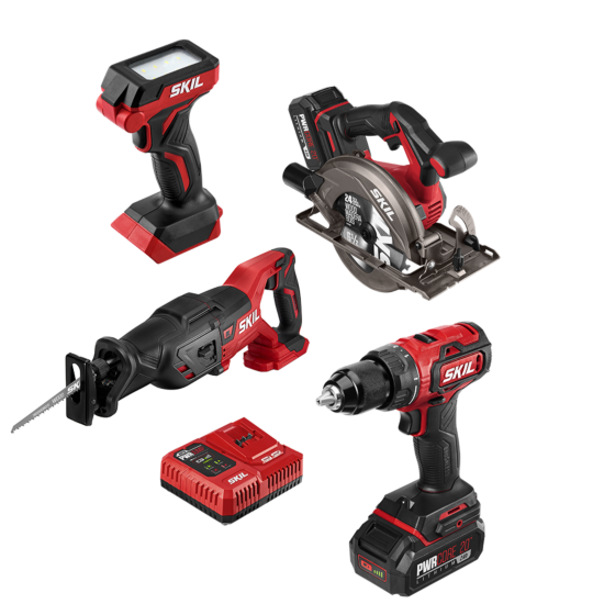 PWR Core 20™ Brushless 20V 4-Tool Combo Kit with PWR Jump™ Charger