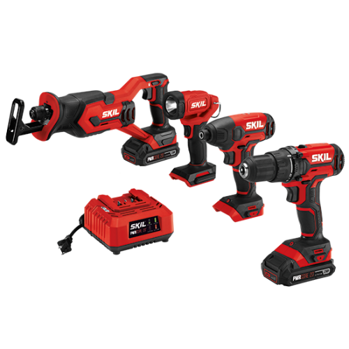 PWR CORE 20™ 20V 4-Tool Combo Kit; Drill Driver, Impact Driver, Reciprocating Saw, Spot Light