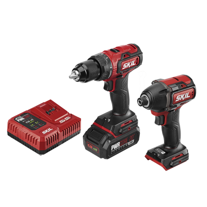 PWRCore 20™ Brushless 20V Drill Driver & Impact Driver Kit with PWRJUMP™ Charger