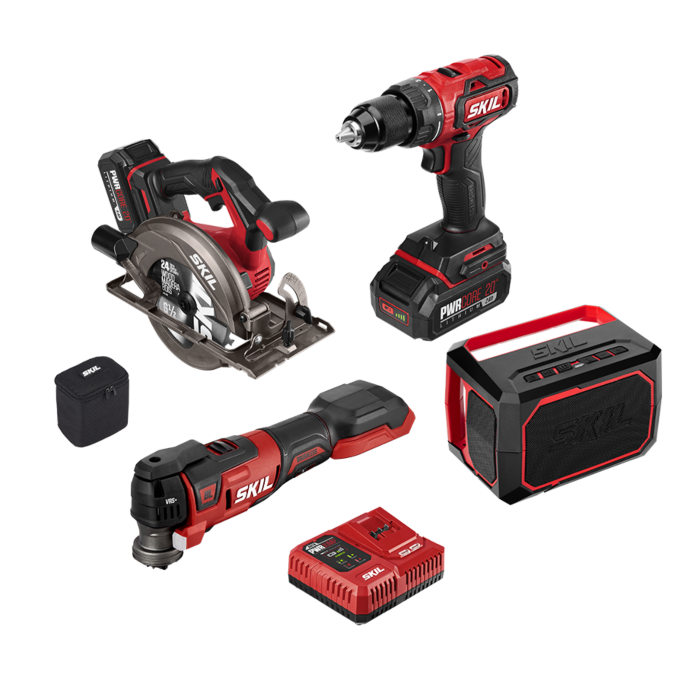 PWRCORE 20™ Brushless 20V 4-Tool Combo Kit with PWRJump™ Charger