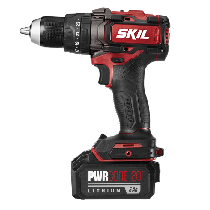 PWR CORE 20™ Brushless 20V 1/2'' Heavy Duty Hammer Drill Kit with 5.0Ah Lithium Battery and PWR JUMP™ Charger