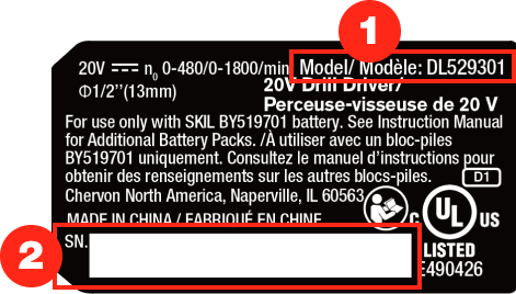 """First sample tool label. Model number is at the top right and begins with """"Model/Modele."""" Serial number is in a white box at the bottom left."""