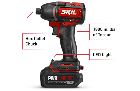 """Brushless 20V 1/4"""" Hex Impact Driver Kit With PWRJump™ Charger"""